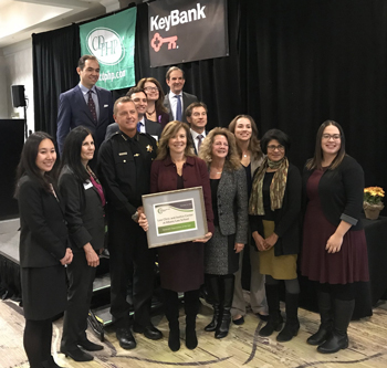 Law Clinic and Justice Center faculty, staff, and friends accept the Nonprofit Organization Award on Nov. 16, 2018