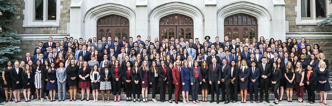 Albany Law School incoming class taking a group photo in front of 1928 building