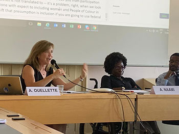 Dean Alicia Ouellette speaking in Geneva, Switzerland