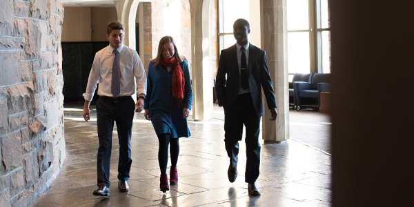 Albany Law School students walking in the foyer