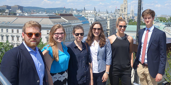 Albany Law School student with group in Vienna