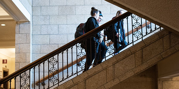 Albany Law School students walking up the stairs